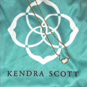 kendra scott gold necklace with white pendant